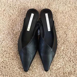 NWT! Zara Trafaluc size 35/5 black leather mules